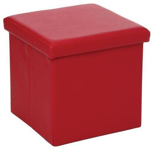 Pufa ze sztucznej skóry, pufa 2 w 1 ze schowkiem, podnóżek - kolor czerwony, kolor czerwony