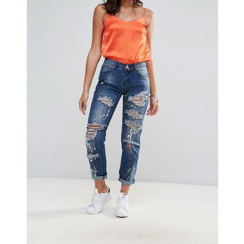 Glamorous Paint Splattered Boyfriend Jeans - Blue