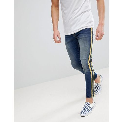 ASOS Super Skinny Jeans In Mid Wash With Yellow Side Stripes - Blue, jeans
