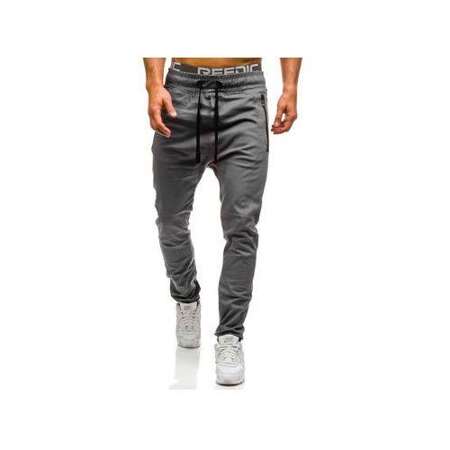 Spodnie joggery męskie szare Denley 0803, kolor szary