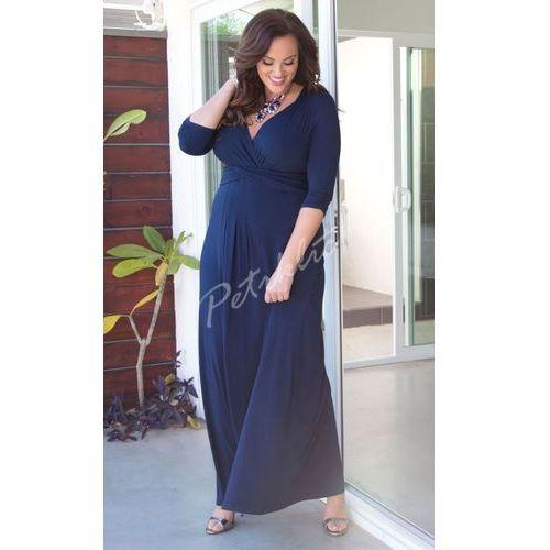 Kobiety Plus Rozmiar Sukienka Kiyonna Pustynia Deszcz Marynarka wojenna Niebieski Maxi Sukienka, kolor niebieski
