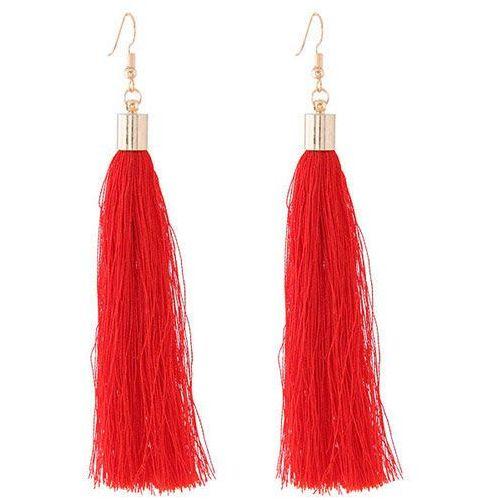 Cloe Kolczyki długie wiszące frędzle chwost czerwone - czerwone