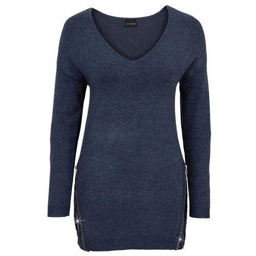 Bonprix Sweter z aplikacją z cekinów ciemnoniebieski melanż