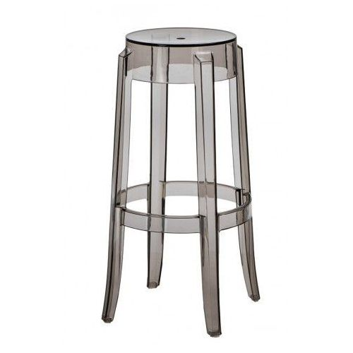 Stołek barowy duch 75 cm inspirowany ghost - szary   transparentny marki D2.design