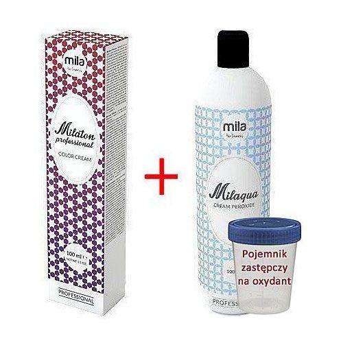 Mila Milaton zestaw do koloryzacji włosów farba 100ml + oxydant Milaqua 100ml 4,0 Brąz, kolor brąz