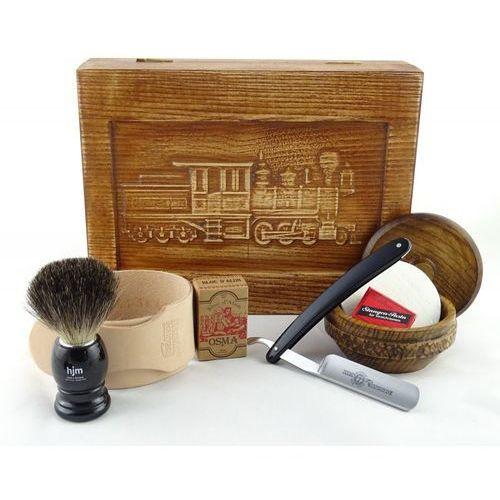 Margo Retro parowóz i 7-elementowy zestaw do golenia brzytwą w drewnianym pudełku, czarny