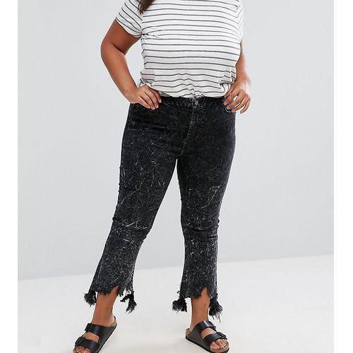 cropped flare jeans with arched raw hem in extreme acid wash black - black, Asos curve