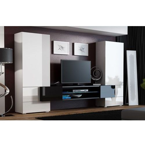 High glossy furniture Tess biało czarna meblościanka wysoki połysk