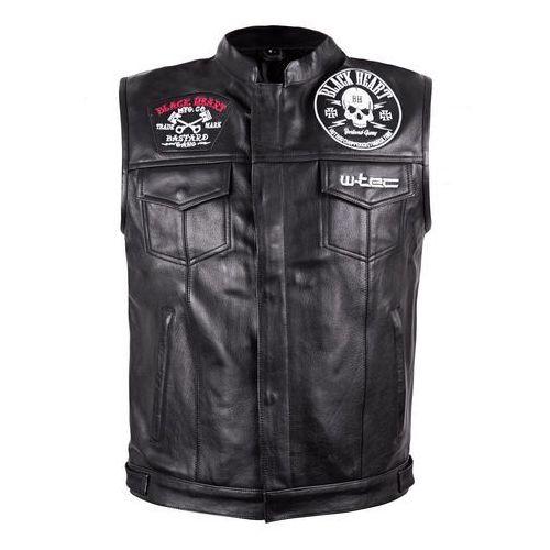 Skórzana kamizelka motocyklowa W-TEC Black Heart Rumbler, Czarny, 4XL