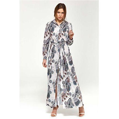17371a8653 Wzorzysta Koszulowa Sukienka Maxi z Długim Rękawem