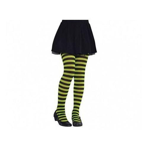 Amscan Rajstopy w zielono-czarne paski dla dziewczynki