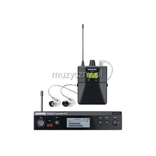 Shure PSM 300 Premium P3TRA215CL bezprzewodowy system monitorowy: nadajnik, odbiornik P3RA, słuchawki SE215