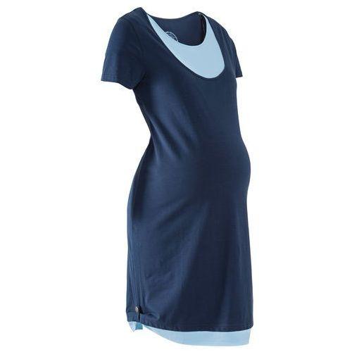 Sukienka shirtowa ciążowa i do karmienia piersią ciemnoniebiesko-jasnoniebieski marki Bonprix