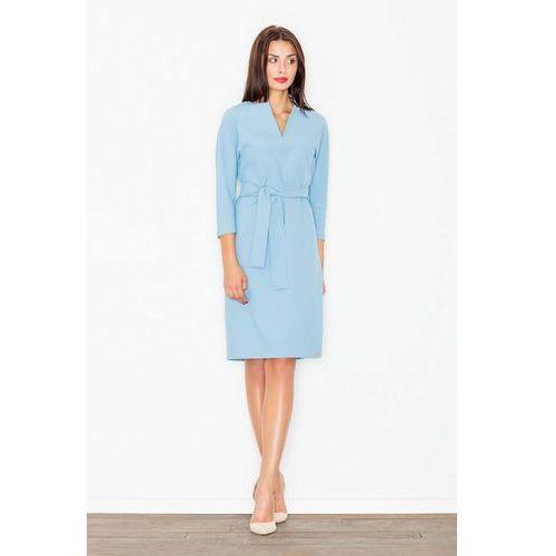 Błękitna Wizytowa Sukienka z Wiązanym Paskiem, w 4 rozmiarach