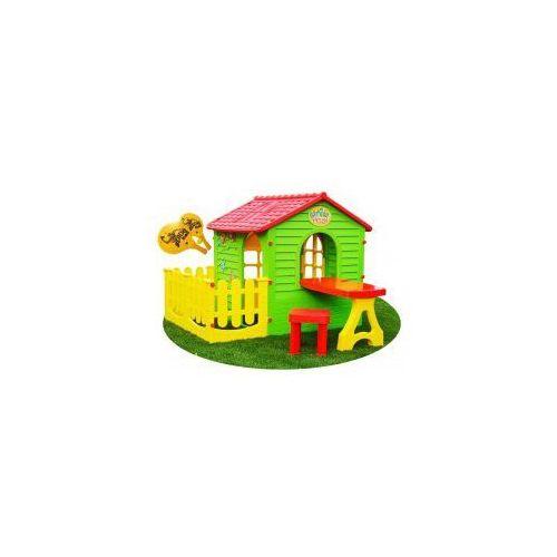 Domek dla dzieci plastikowy ze stolikiem i płotkiem + GRATIS Rakietki plażowe