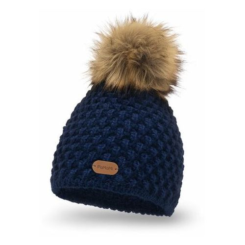 Zimowa czapka damska PaMaMi - Granatowy, kolor niebieski