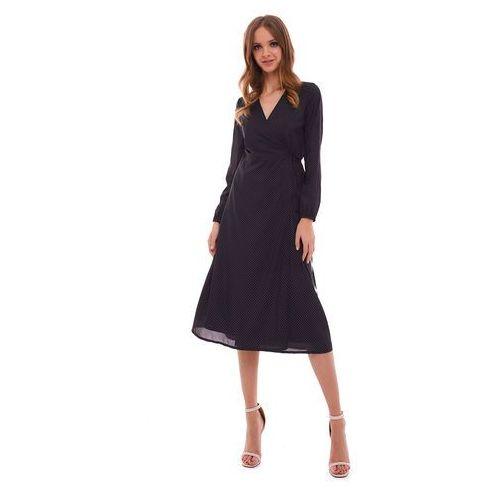 Sukienka Marion czarna w kropki, kolor czarny