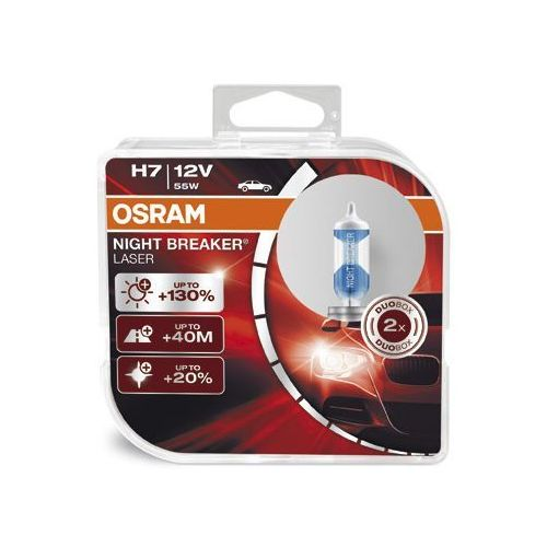 OSRAM H7 12V 55W PX26d NIGHT BREAKER® LASER (do +130% więcej światła, do 40m dłuższy zasięg, do +20% bielsze światło)