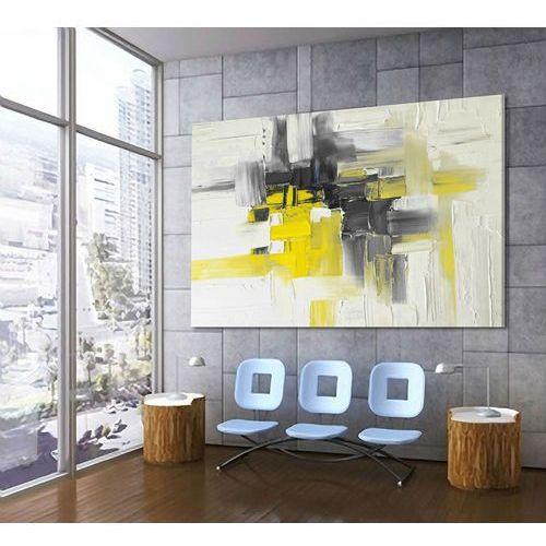 Duży obraz w kolorach żółtym i szarym 140x90 zamówienie indywidualne z dedykacja