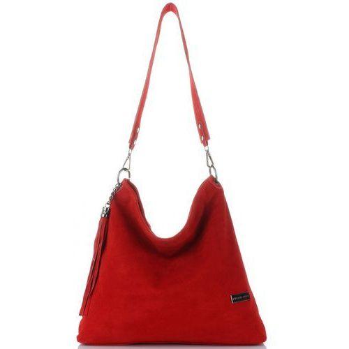 3a5d7fd79cbc uniwersalne torebki skórzane listonoszki damskie w rozmiarze xl na każdą  okazję wykonane w całości z zamszu naturalnego czerwone (kolory) marki  Vittoria ...
