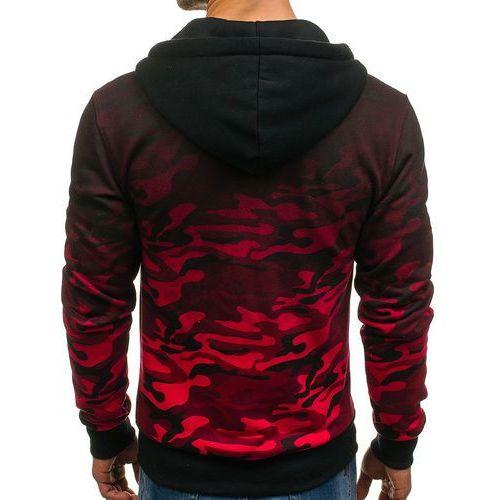 Bluza męska z kapturem rozpinana moro-czerwona denley dd86, J.style