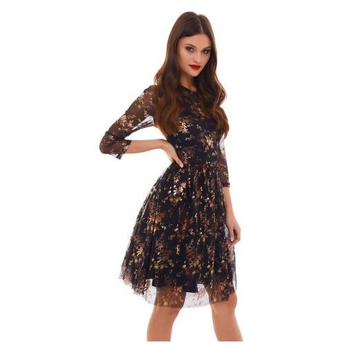 Sukienka Musca czarna w złote kwiaty, kolor czarny