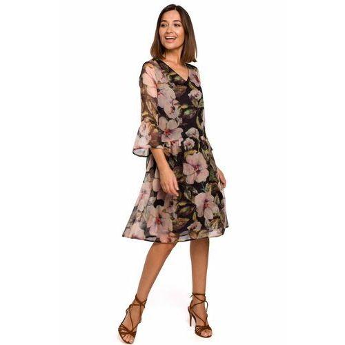 S214 Sukienka szyfonowa z obniżoną linią talii - model 3, 91855