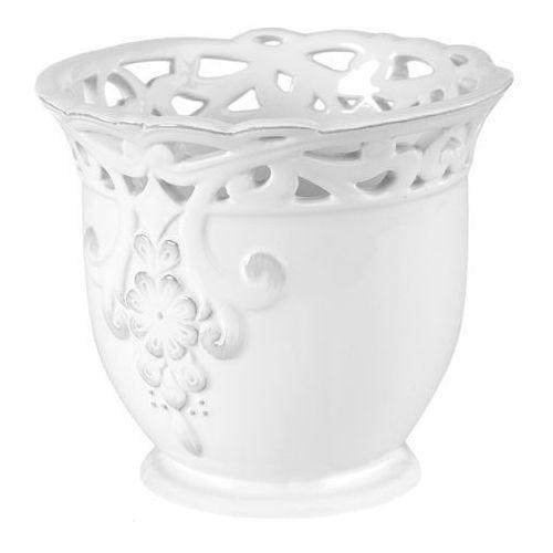 Osłonka doniczki wewnętrzna koronka 15 cm biała (5905925088384)