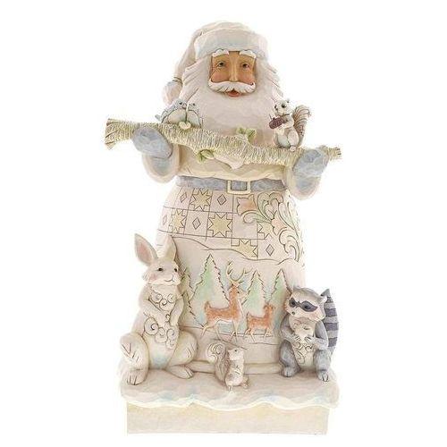 Duży Biały Mikołaj otoczony zwierzętami 48 cm White Woodland Santa Statue 6001406 Jim Shore figurka ozdoba świąteczna