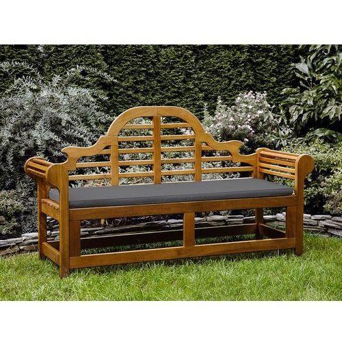 Ławka ogrodowa drewniana 180 cm poducha grafitowa java marlboro marki Beliani