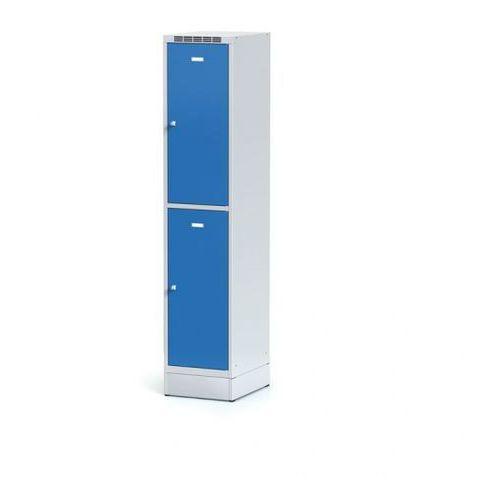 Alfa 3 Metalowa szafka ubraniowa 2-drzwiowa na cokole, drzwi niebieske, zamek obrotowy