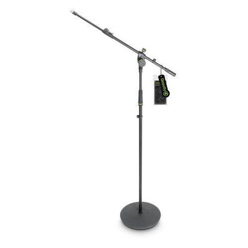 Gravity ms 2322 b statyw mikrofonowy z okrągłą podstawą i dwupunktową regulacją wysięgnika wysuwanego, długi