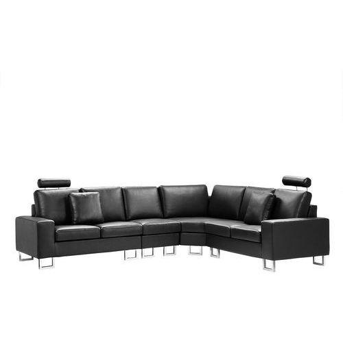 Sofa narożna lewostronna skórzana czarna STOCKHOLM