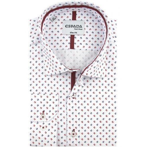 Koszula męska biała we wzory slim fit na długi rękaw d942 marki Espada