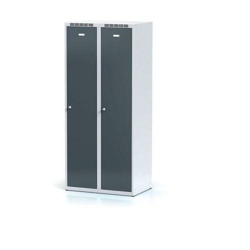 Alfa 3 Metalowa szafka ubraniowa, antracytowe dwupłaszczowe drzwi, zamek cylindryczny