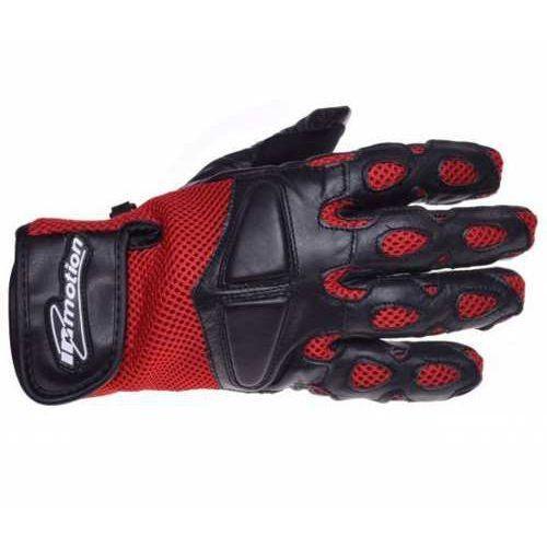Rękawice motocyklowe czarno-czerwone skórzane siatka marki Inmotion