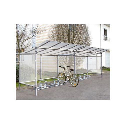 """Procity Wiata na rowery aluminiowa typu """"eco"""" - 5 stanowisk dla rowerów + poszerzenie o kolejne 5 stanowisk"""