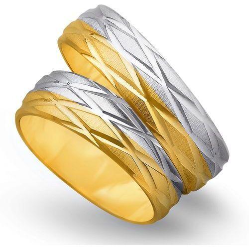 Obrączki z żółtego i białego złota 6mm - O2K/156 - produkt dostępny w Świat Złota