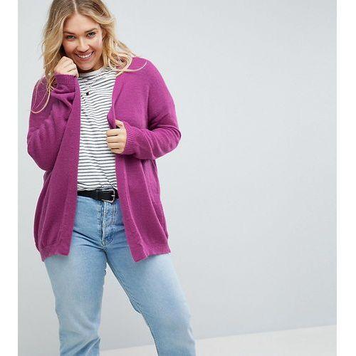 Asos curve cardigan in fine knit fluffy yarn - purple