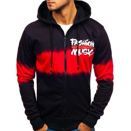 Bluza męska z kapturem rozpinana czarno-czerwona denley dd523, J.style