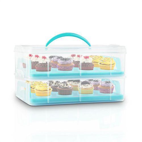 Klarstein  uss blue cookie pojemnik do transportu ciasta 2 poziomy 2 wkłady uchwyt