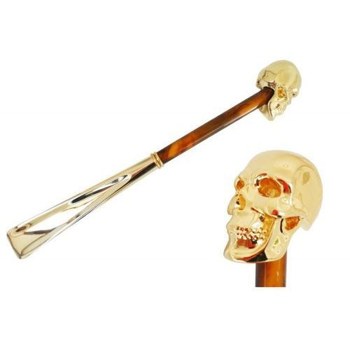 Łyżka do obuwia gold skull, pearly brown shaft, cs w33po marki Pasotti