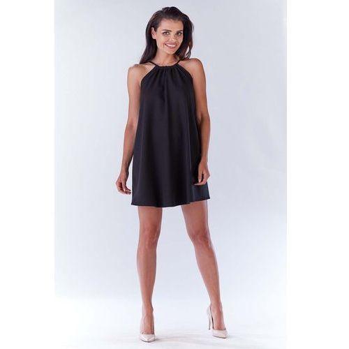 f4b55d8048 Czarna Trapezowa Sukienka Koktajlowa z Dekoltem Halter-neck