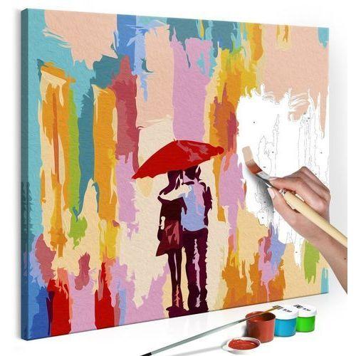 Obraz do samodzielnego malowania - Para pod parasolem (różowe tło)