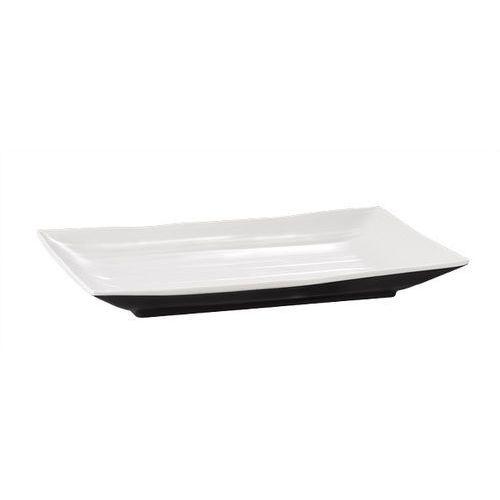 Półmisek prostokątny z melaminy 345x215x30 mm, biały/czarny | , halftone marki Aps