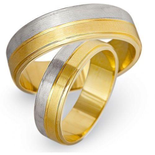 Obrączki z żółtego i białego złota 6mm - O2K/164 - produkt dostępny w Świat Złota