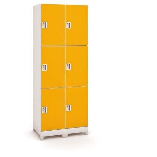B2b partner Szafa z tworzywa sztucznego, 6 drzwi, pomarańczowy