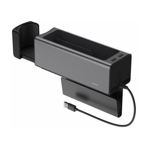 Baseus samochodowy organizer uchwyt na kubek hub 2x usb do ładowania czarny (crcwh-a01) - czarny