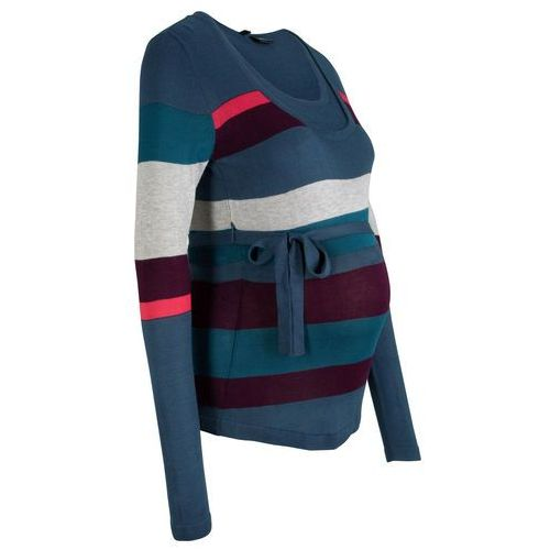 Sweter ciążowy i do karmienia, w paski ciemnoniebieski w paski marki Bonprix