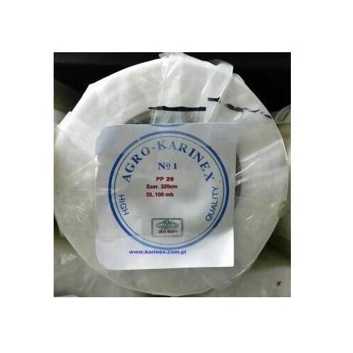 Agrowłóknina wiosenna PP 20 g/m2 biała 3,2 x 100 mb. Rolka o szer. 320 cm i wadze 7,63 kg.